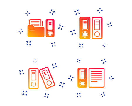 Accounting icons. Document storage in folders sign symbols. Random dynamic shapes. Gradient document icon. Vector