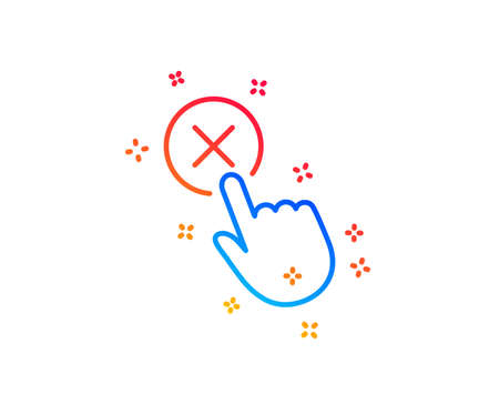 Reject click line icon. Decline or remove button sign. Gradient design elements. Linear reject click icon. Random shapes. Vector Ilustrace
