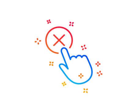 Reject click line icon. Decline or remove button sign. Gradient design elements. Linear reject click icon. Random shapes. Vector Illustration