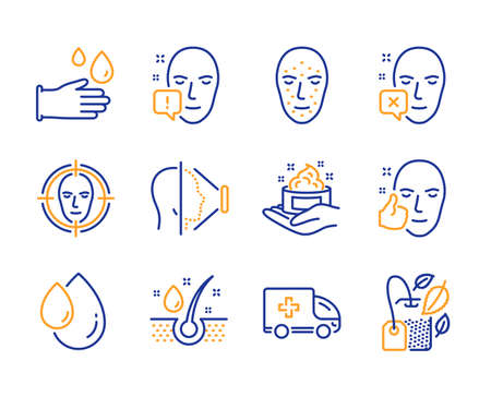 Face id, Oil drop and Face detect icons simple set. Rubber gloves, Ambulance emergency and Skin care signs. Serum oil, Mint bag symbols. Phone scanning, Serum. Medical set. Line face id icon. Vector Banque d'images - 123946559