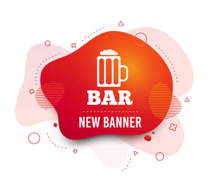 Fluid badge. Bar or Pub sign icon. Glass of beer symbol. Alcohol drink symbol. Abstract shape. Gradient beer icon. Flyer liquid banner. Vector