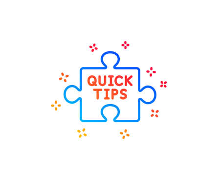 Quick tips puzzle line icon. Helpful tricks sign. Gradient design elements. Linear quick tips icon. Random shapes. Vector
