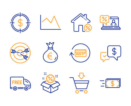Sale, Dollar target and Loan house icons simple set. Money bag, Online market and Online loan signs. Targeting, Line chart and Refund commission symbols. Line sale icon. Colorful set. Editable stroke