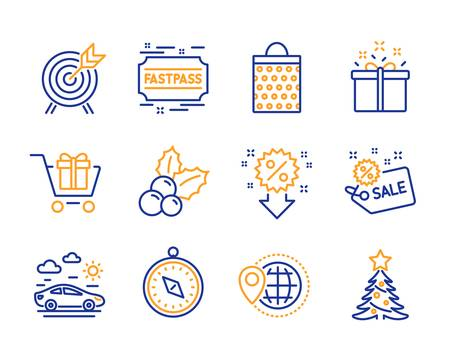 World travel, Archery and Car travel icons simple set. Discount, Christmas holly and Shopping cart signs. Sale, Shopping bag and Fastpass symbols. Special offer, Christmas tree. Line world travel icon