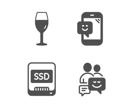 Set of Smile, Wineglass and Ssd icons. Communication sign. Phone feedback, Burgundy glass, Memory disk. Business messages.  Classic design smile icon. Flat design. Vector Illustration