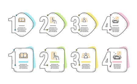 Conjunto simple de iconos de tarjeta de pago, educación y grupo. Signo de servicio de coche. Tarjeta de crédito, Libro de instrucciones, Grupo de usuarios. Servicio de reparación. Línea de tiempo de infografía. Icono de tarjeta de pago de línea. 4 opciones o pasos Ilustración de vector