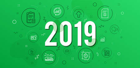 Infographic concept. Graph chart, Truck delivery and Timer icons simple set. Update data, Delete file and Accounting checklist signs. Car, Parking payment and Face id symbols. 2019 year. Vector Illustration