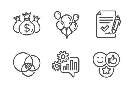 Approved agreement, Check investment and Euler diagram icons simple set. Cogwheel, Balloons and Like signs. Signature document, Business report. Business set. Line approved agreement icon. Vector