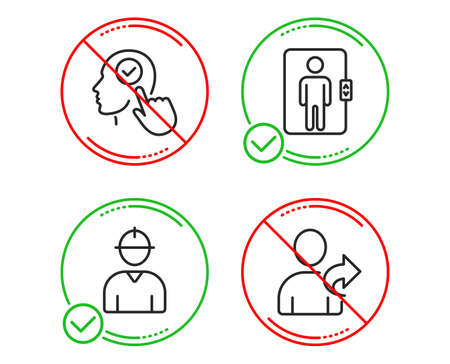 Do or Stop. Select user, Engineer and Elevator icons simple set. Refer friend sign. Head with checkbox, Worker profile, Office transportation. Share. People set. Line select user do icon. Vector
