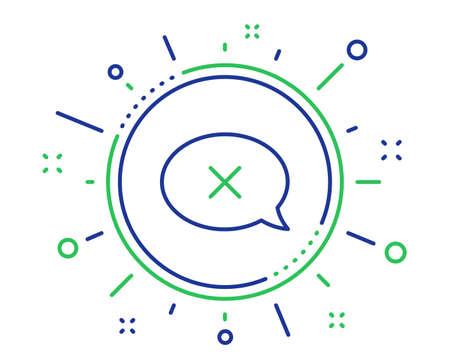 Reject message line icon. Decline or remove chat sign. Quality design elements. Technology reject button. Editable stroke. Vector Illusztráció