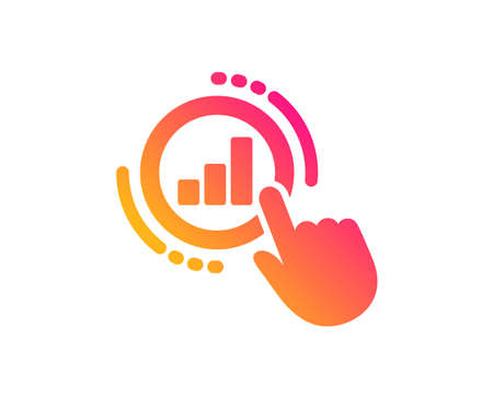 Statistics icon. Column chart sign. Growth graph diagram symbol. Classic flat style. Gradient graph chart icon. Vector