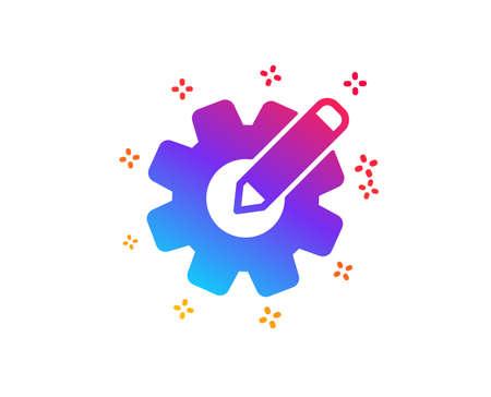 Cogwheel icon. Engineering tool sign. Edit settings symbol. Dynamic shapes. Gradient design cogwheel icon. Classic style. Vector