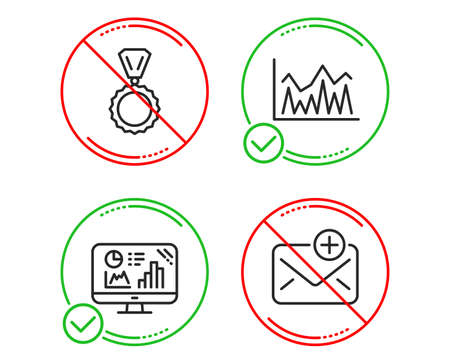 Do or Stop. Analytics graph, Medal and Investment icons simple set. New mail sign. Growth report, Winner, Economic statistics. Add e-mail. Education set. Line analytics graph do icon. Vector