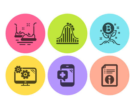 Bitcoin project, Bumper cars and Settings icons simple set. Medical phone, Roller coaster and Technical info signs. Cryptocurrency startup, Carousels. Technology set. Flat bitcoin project icon Banque d'images - 120268537