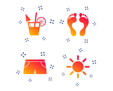 Beach holidays icons. Cocktail, human footprints and swimming trunks signs. Summer sun symbol. Random dynamic shapes. Gradient footprint icon. Vector