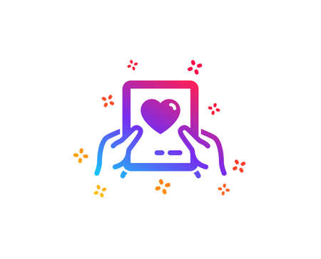 Valentines day mail icon. Love letter symbol. Heart sign. Dynamic shapes. Gradient design love mail icon. Classic style. Vector