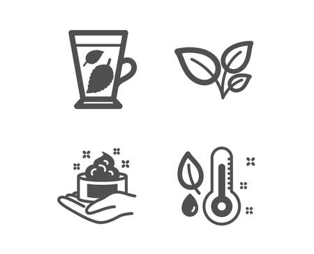 Set of Leaves, Skin care and Mint leaves icons. Thermometer sign. Grow plant, Hand cream, Mentha leaf.  Classic design leaves icon. Flat design. Vector Illustration