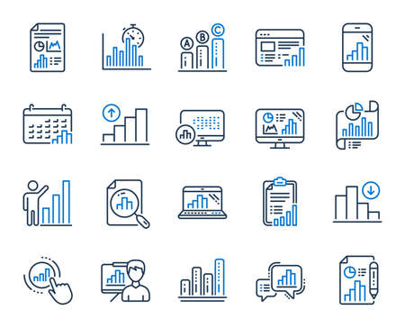 Graph line icons. Set of Chart presentation, Report, Increase growth graph icons. Analytics testing, Falling demand, Pie chart report. Calendar statistics, Stats. Ab testing, Increase sales. Vector Illustration