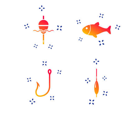 Fishing icons. Fish with fishermen hook sign. Float bobber symbol. Random dynamic shapes. Gradient fishing icon. Vector