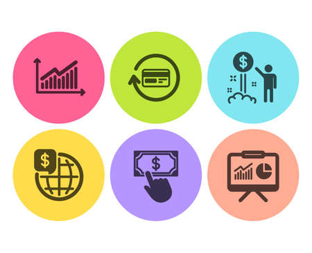 Graph, World money and Refund commission icons simple set. Payment click, Income money and Presentation signs. Presentation diagram, Global markets. Finance set. Flat graph icon. Circle button. Vector