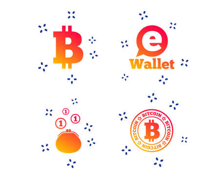 Bitcoin icons. Electronic wallet sign. Cash money symbol. Random dynamic shapes. Gradient e-wallet icon. Vector Illustration