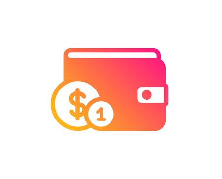 Wallet with Cash money icon. Dollar currency sign. Payment method symbol. Classic flat style. Gradient buying accessory icon. Vector