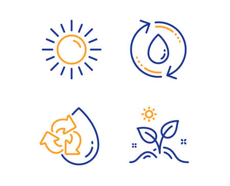 Sun, Recycle water and Refill water icons simple set. Grow plant sign. Summer, Refill aqua, Recycle aqua. Leaves. Nature set. Linear sun icon. Colorful design set. Vector