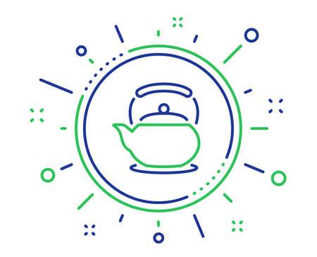 Teapot line icon. Hot drink sign. Fresh beverage in kettle symbol. Quality design elements. Technology teapot button. Editable stroke. Vector Illustration