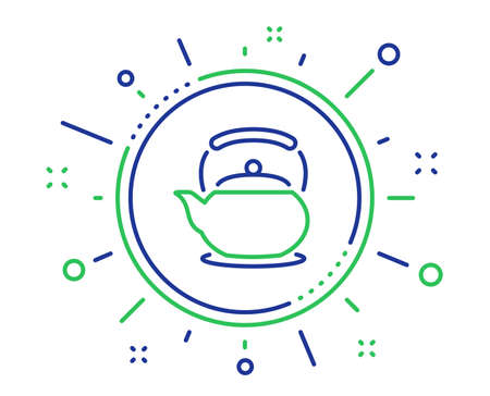 Teapot line icon. Hot drink sign. Fresh beverage in kettle symbol. Quality design elements. Technology teapot button. Editable stroke. Vector  イラスト・ベクター素材