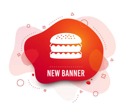 Fluid badge. Hamburger icon. Burger food symbol. Cheeseburger sandwich sign. Abstract shape. Gradient sandwich icon. Flyer liquid banner. Vector Banque d'images - 120268555