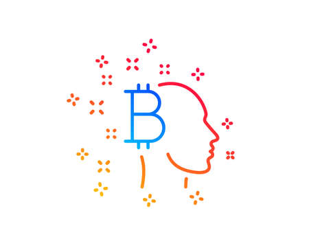 Bitcoin think line icon. Cryptocurrency head sign. Crypto money symbol. Gradient design elements. Linear bitcoin think icon. Random shapes. Vector Ilustracja