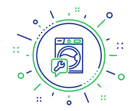 Spanner tool line icon. Washing machine repair service sign. Quality design elements. Technology washing machine button. Editable stroke. Vector