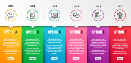 Refresh, Online video and Corrupted file icons simple set. Speech bubble, Mobile survey and Attraction signs. Rotation, Video exam. Technology set. Infographic template. 6 steps timeline. Vector