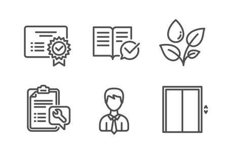 Approved documentation, Plants watering and Spanner icons simple set. Certificate, Businessman and Lift signs. Instruction book, Water drop. Business set. Line approved documentation icon. Vector