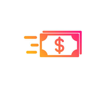 Transfer Cash money icon. Banking currency sign. Dollar or USD symbol. Classic flat style. Gradient money transfer icon. Vector