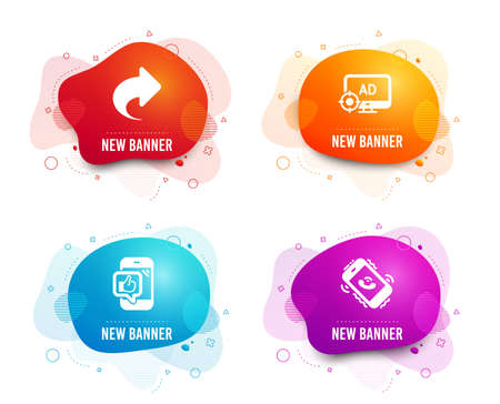 Liquid badges. Set of Mobile like, Seo adblock and Share icons. Call center sign. Phone thumbs up, Search engine, Link. Phone support. Gradient mobile like icon. Flyer fluid design. Abstract shapes