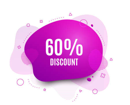 Fluid badge. 60% Discount. Sale offer price sign. Special offer symbol. Abstract shape. Color gradient sale banner. Flyer liquid design. Vector