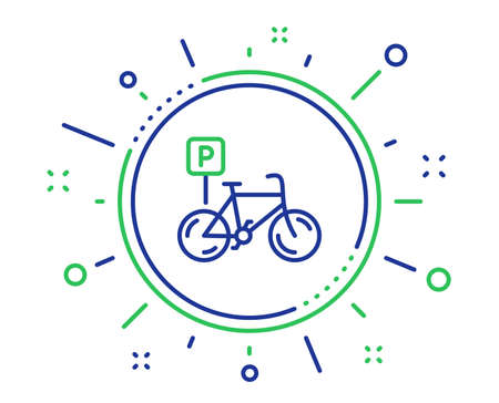 Bicycle parking line icon. Bike park sign. Public transport place symbol. Quality design elements. Technology bicycle parking button. Editable stroke. Vector