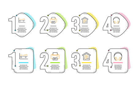 Column diagram, Parking and Printer icons simple set. Headphones sign. Sale statistics, Garage, Printing device. Music listening device. Business set. Infographic timeline. Line column diagram icon