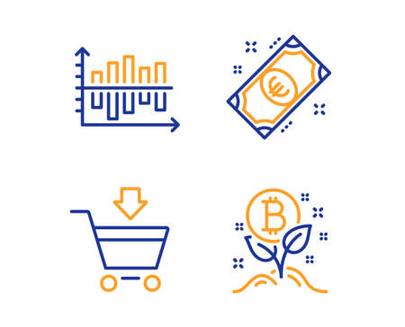 Online market, Euro money and Diagram chart icons simple set. Bitcoin project sign. Shopping cart, Cash, Presentation graph. Cryptocurrency startup. Finance set. Linear online market icon. Vector Illustration