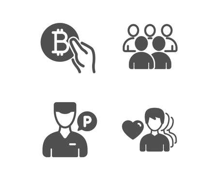 Set of Bitcoin pay, Group and Valet servant icons. Man love sign. Cryptocurrency coin, Developers, Parking man. Romantic people.  Classic design bitcoin pay icon. Flat design. Vector