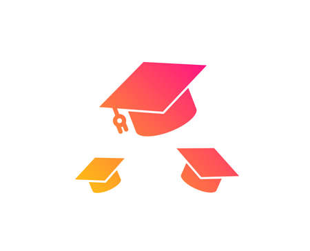 Graduation caps icon. Education sign. Student hat symbol. Classic flat style. Gradient throw hats icon. Vector