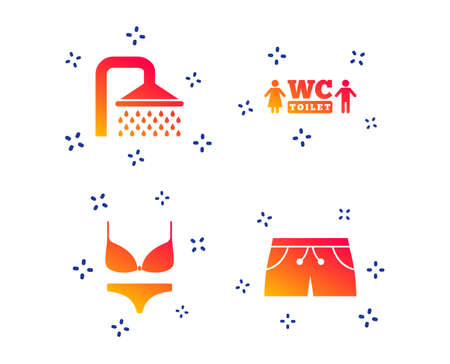 Swimming pool icons. Shower water drops and swimwear symbols. WC Toilet sign. Trunks and women underwear. Random dynamic shapes. Gradient shower icon. Vector