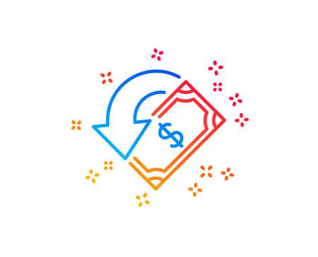 Cashback line icon. Send or receive money sign. Gradient design elements. Linear cashback icon. Random shapes. Vector