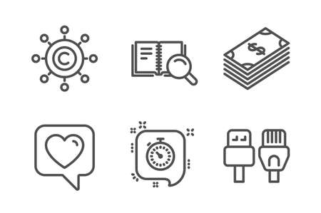Copywriting network, Heart and Timer icons simple set. Dollar, Search book and Computer cables signs. Content networking, Like rating. Business set. Line copywriting network icon. Editable stroke