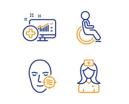 Problem skin, Disabled and Medical analytics icons simple set. Hospital nurse sign. Facial care, Handicapped wheelchair, Medicine system. Medical assistant. Healthcare set. Linear problem skin icon 向量圖像