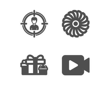 Set of Holiday presents, Fan engine and Headhunting icons. Video camera sign. Gift boxes, Ventilator, Person in target. Movie or cinema.  Classic design holiday presents icon. Flat design. Vector Ilustrace