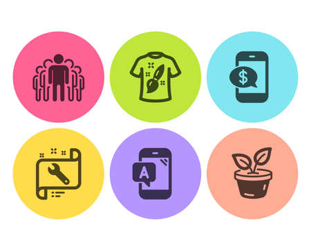 Ab testing, Phone payment and Spanner icons simple set. T-shirt design, Group and Leaves signs. Phone test, Mobile pay. Flat ab testing icon. Circle button. Vector