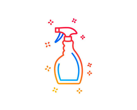 Cleaning spray line icon. Washing liquid or Cleanser symbol. Housekeeping equipment sign. Gradient design elements. Linear spray icon. Random shapes. Vector