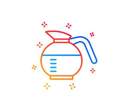 Coffeepot line icon. Coffee Hot drink sign. Brewed fresh beverage symbol. Gradient design elements. Linear coffeepot icon. Random shapes. Vector Vettoriali